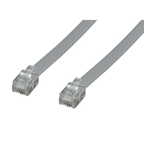 Tera Grand RJ11 Male to RJ11 Male 6P4C Silver Stain Flat Phone Cable 14'
