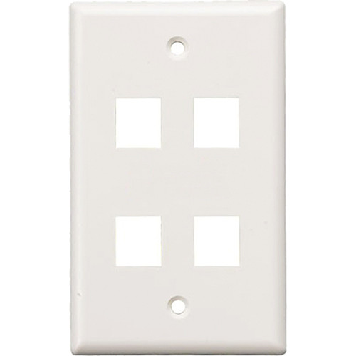 Tera Grand Wall Plate for Keystone Insert (4-Hole, White)