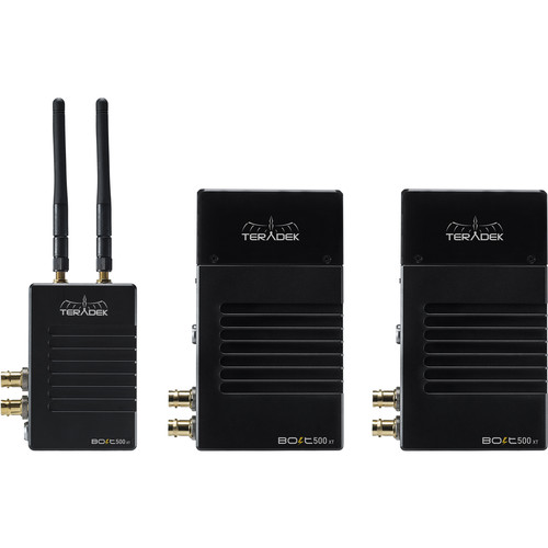 Teradek Bolt 500 XT SDI/HDMI Wireless Deluxe Kit with One Transmitter, Two Receivers (Gold Mount)