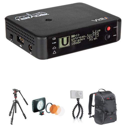 Teradek VidiU Streamer, Befree Tripod, Gorillapod, LED Light & Backpack Kit