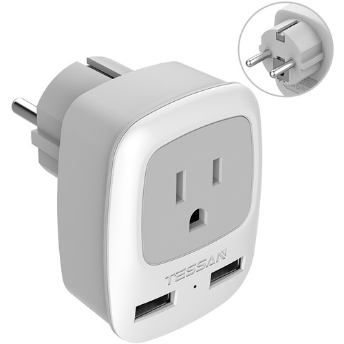 Tessan Type E/F Travel Adapter Plug with US Outlet & 2 USB Type-A Ports (Gray)