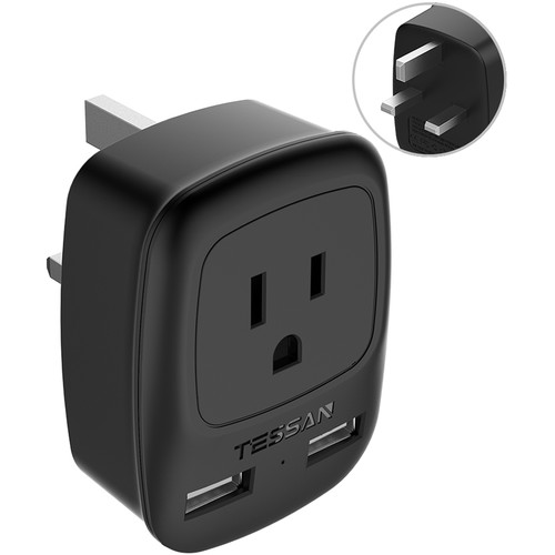 Tessan Type-G Travel Adapter with US Outlet and USB Type-A Ports (Black)