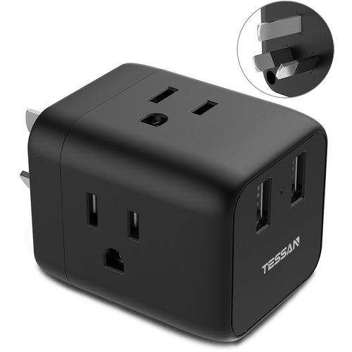 Tessan Travel Adapter with 3 US Outlets and 2 USB Type-A Ports (Type-I, Black)