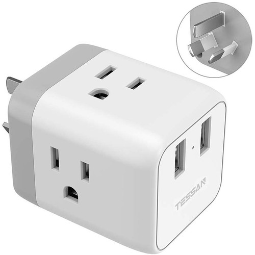 Tessan 3-Outlet Travel Adapter with USB Type-A Ports (Type-I, White)