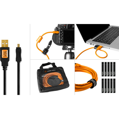Tether Tools Starter Tethering Kit with USB 2.0 Type-A to Mini-B 8-Pin Cable (15', Black)