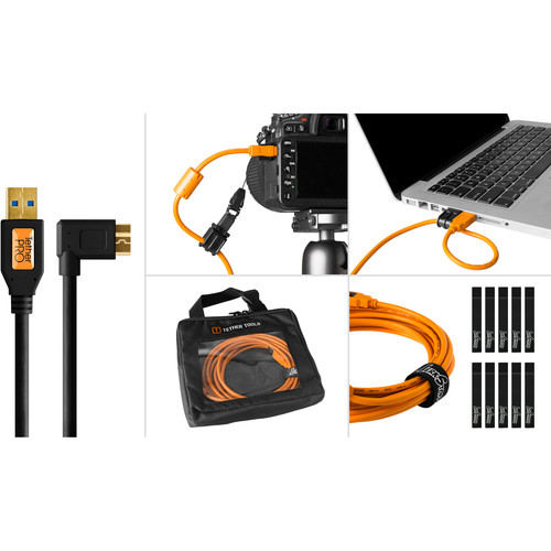 Tether Tools Starter Tethering Kit with USB 3.0 Type-A to Micro-B Right Angle Cable (15', Black)