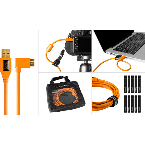 Tether Tools Starter Tethering Kit with USB 3.0 Type-A to Micro-B Right Angle Cable (15', Orange)