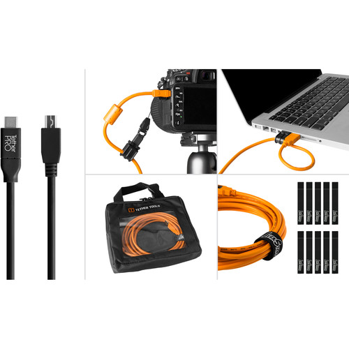 Tether Tools Starter Tethering Kit with USB 2.0 Type-C to Mini-B 5-Pin Cable (15', Black)