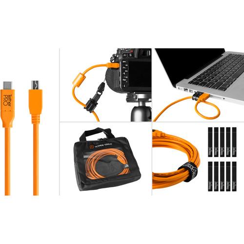 Tether Tools Starter Tethering Kit with USB-C to 2.0 Mini-B, 5-Pin, 15' (4.6m) (Orange)