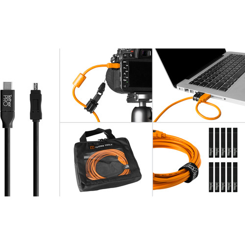Tether Tools Starter Tethering Kit with USB 2.0 Type-C to Mini-B 8-Pin Cable (15', Black)
