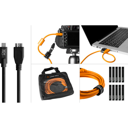 Tether Tools Starter Tethering Kit with USB 3.0 Type-C to Micro-B Cable (15', Black)