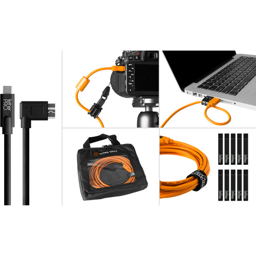 Tether Tools Starter Tethering Kit with USB 3.0 Type-C to Micro-B Right Angle Cable (15', Black)