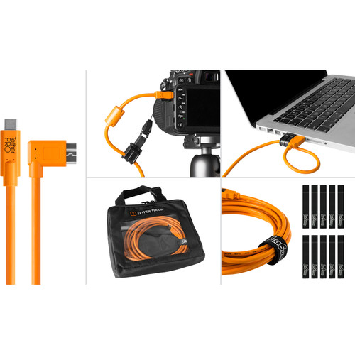 Tether Tools Starter Tethering Kit with USB-C to 3.0 Micro-B,Right Angle 15' (4.6m) (Orange)