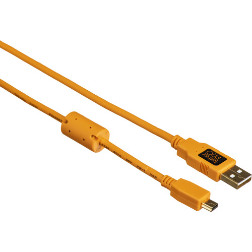 Tether Tools TetherPro USB 2.0 Type-A to 5-Pin Mini-USB Cable (Orange, 6')