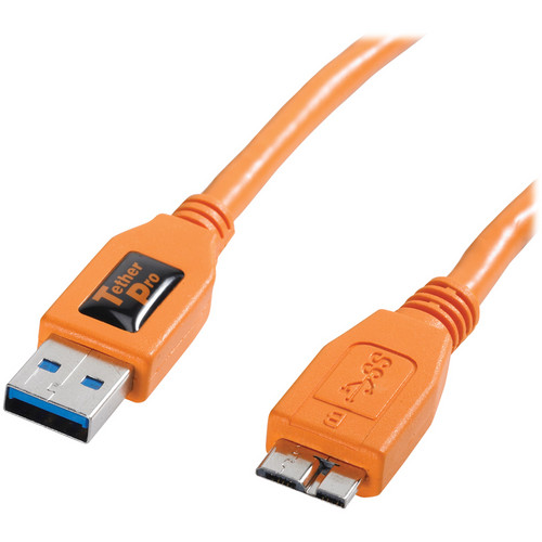 Tether Tools TetherPro USB 3.0 Male Type-A to USB 3.0 Micro-B Cable (6', Orange)
