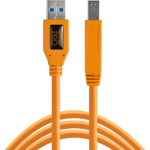Tether Tools TetherPro SuperSpeed USB 3.0 Male A to Male B Cable (15', High-Visibility Orange)