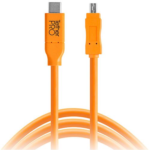 Tether Tools TetherPro USB Type-C Male to 8-Pin Mini-USB 2.0 Type-B Male Cable (15', Orange)