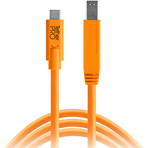 Tether Tools TetherPro USB Type-C Male to USB 3.0 Type-B Male Cable (15', Orange)
