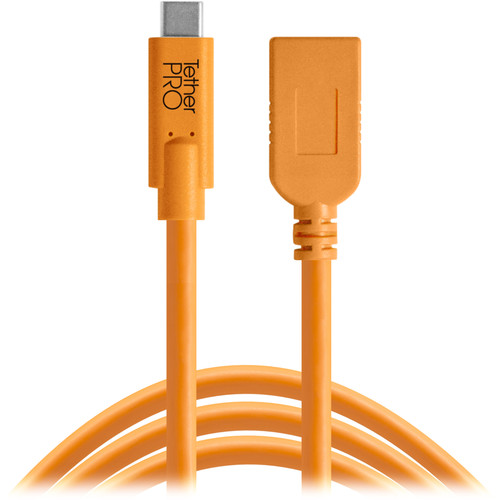 Tether Tools TetherPro USB Type-C to USB Type-A Extension Cable (15', Orange)