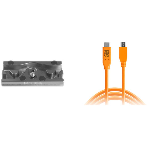 Tether Tools TetherPro USB Cable with TetherBLOCK Quick Release Plate Kit (USB Type-C Male to 5-Pin Micro-USB 2.0 Type-B Male, Orange)