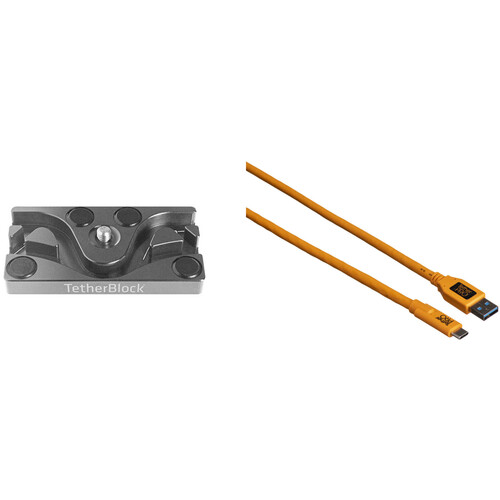 Tether Tools TetherPro USB 3.0 Type-C to Type-A Cable & TetherBLOCK MC Multi Cable Mounting Plate Kit