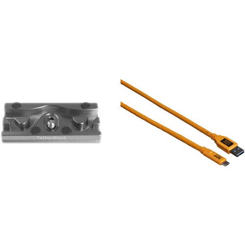 Tether Tools TetherPro USB 3.0 Type-C to Type-A Cable & TetherBLOCK QR Plus Quick Release Plate Kit