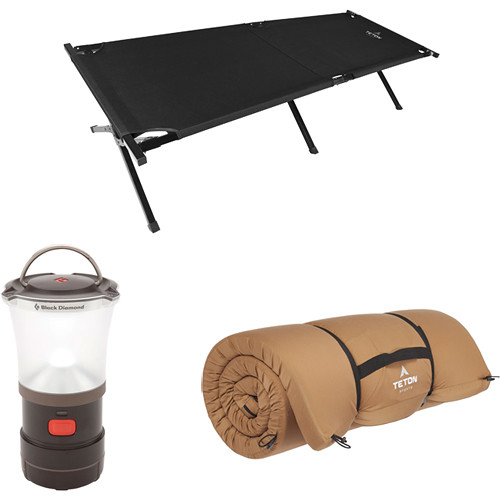 TETON Sports Adventurer Camp Cot Kit with Camp Pad & LED Lantern