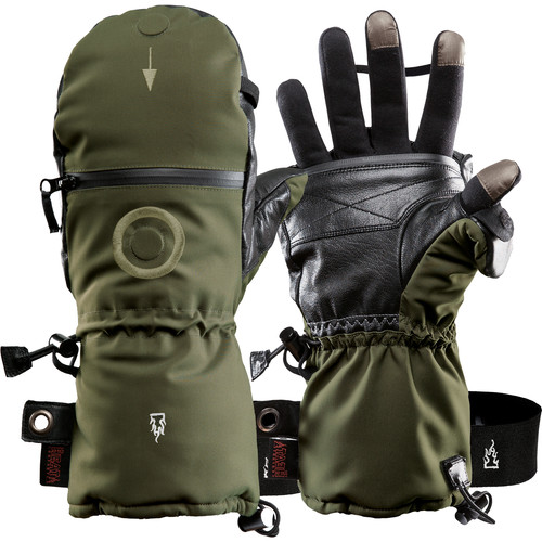 The Heat Company Heat 3 Smart Mittens/Gloves (Size 7, Tarmac Green)