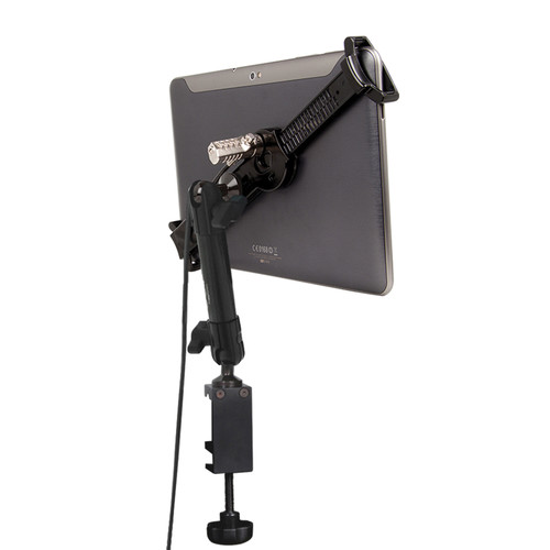 """The Joy Factory LockDown Universal C-Clamp Carbon Fiber Mount with Combination Lock for 7-10.1"""" Tablets"""