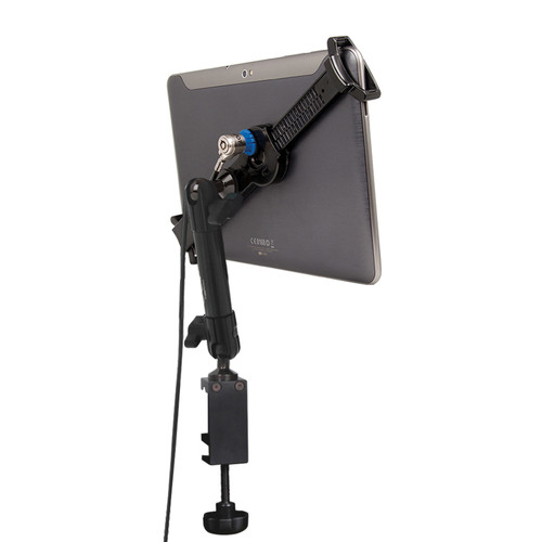 "The Joy Factory LockDown Universal C-Clamp Carbon Fiber Mount with Key Lock for 7-10.1"" Tablets"