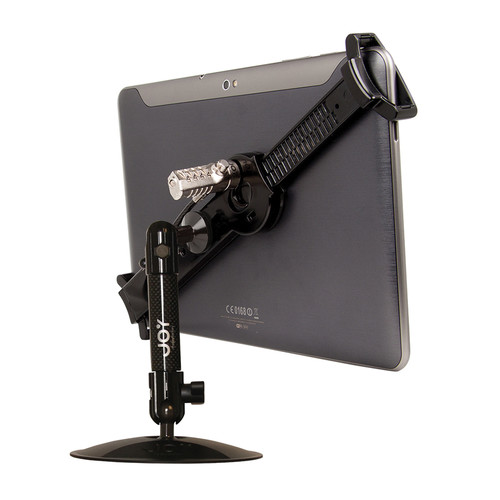 "The Joy Factory LockDown Universal Desk/Countertop Carbon Fiber Stand with Combination Lock for 7-10.1"" Tablets"