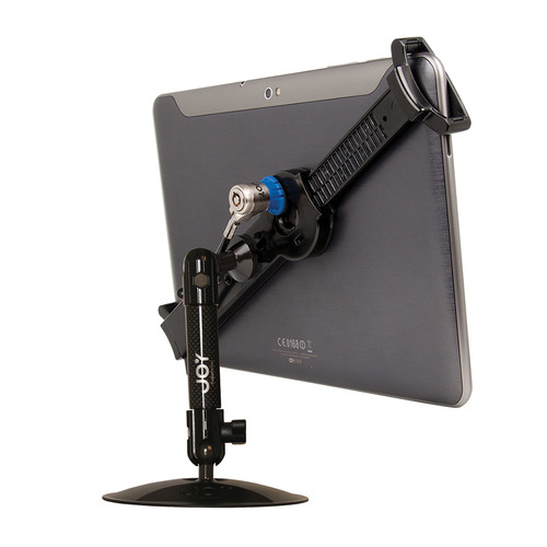 """The Joy Factory LockDown Universal Desk/Countertop Carbon Fiber Stand with Key Lock for 7-10.1"""" Tablets"""