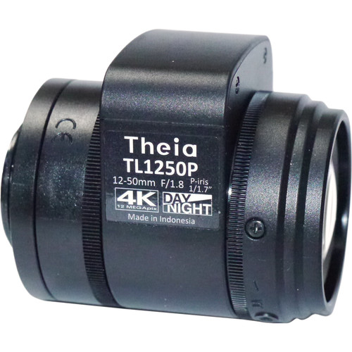 Theia Technologies 12-50mm CS-Mount 4K Telephoto P-Iris Varifocal Lens with Motorized Zoom, Focus, Iris, IR Cut Filter, and Limit Switch