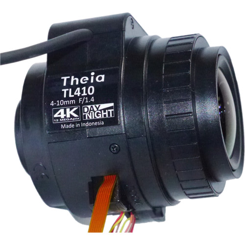 Theia Technologies CS-Mount 4-10mm f/1.4-Close 4K IR-Corrected Motorized Auto-Iris Varifocal Lens with Zoom/Focus Limit Switch