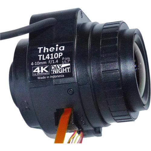 Theia Technologies CS-Mount 4-10mm f/1.4-Close 4K IR-Corrected Motorized P-Iris Varifocal Lens with Zoom/Focus Limit Switch