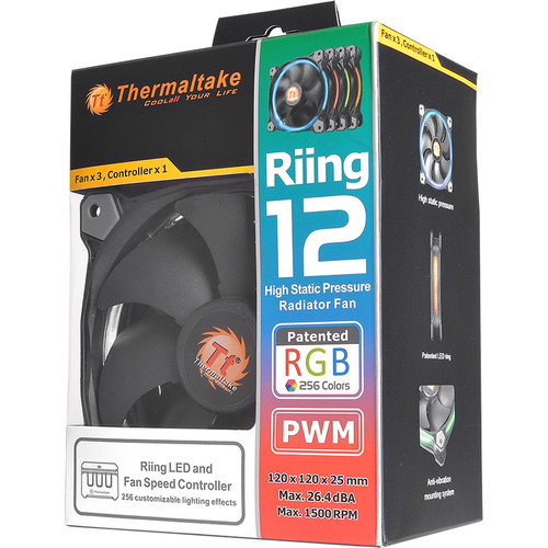 Thermaltake Riing 12 RGB Multi-Colored LED 120mm Case Fans (3-Pack)