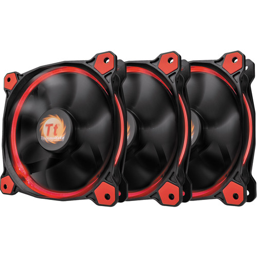 Thermaltake Riing 12 LED 120mm Radiator Fan (Red, 3-Pack)