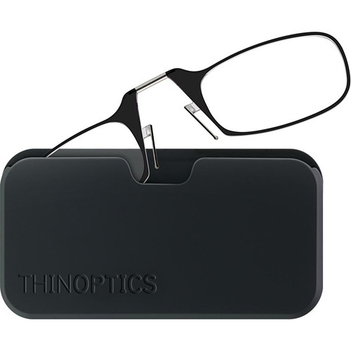 ThinOPTICS Smartphone +2.50 Reading Glasses with Universal Pod (Jet Black)