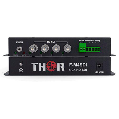 Thor 4-Channel HD-SDI Transmitter & Receiver Kit over ST Singlemode Fiber (12.4 miles)
