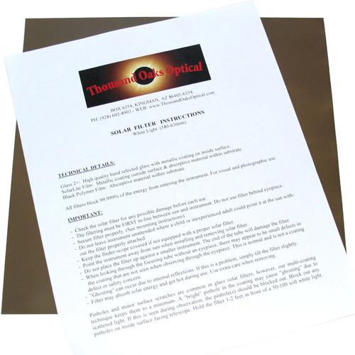 "Thousand Oaks Optical Silver-Black Polymer White-Light Solar Filter Film (12 x12"" Sheet)"
