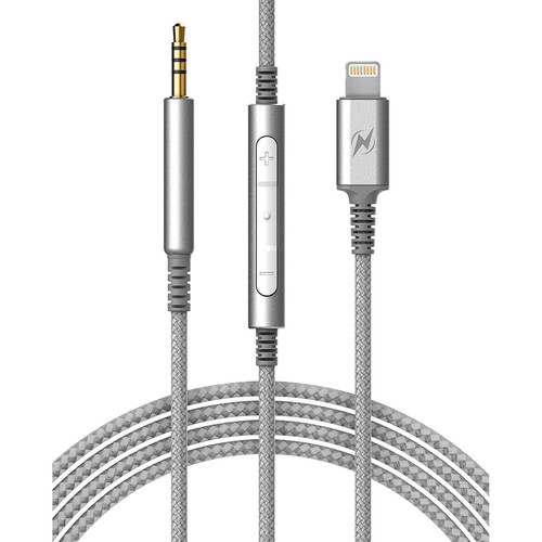 Thunder & Lightning CA352GY 2.5mm to Lightning Cable with Inline Mic/Remote for Bose QC25 & QC35 Headphones (Gray)