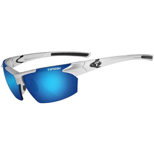 Tifosi Jet Sunglasses (Metallic Silver Frames, Smoke Blue Lenses)