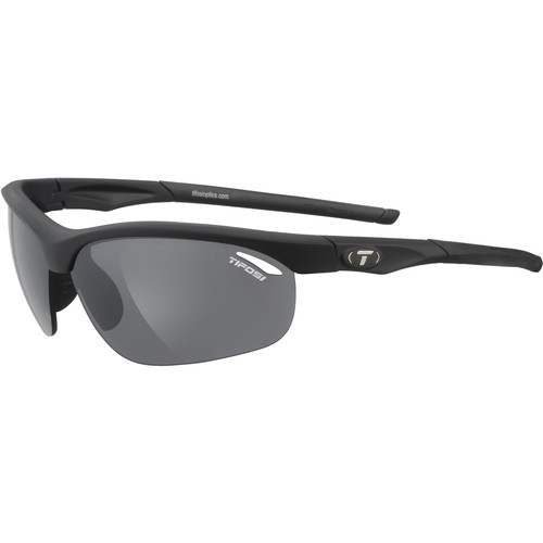 Tifosi Veloce Sunglasses (Matte Black Frames - AC Red, Clear, Smoke Lenses)