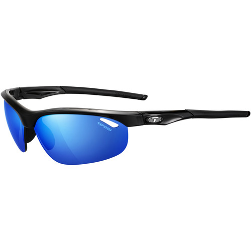 Tifosi Veloce Sunglasses (Gloss Black Frames - AC Red, Clarion Blue, Clear Lenses)