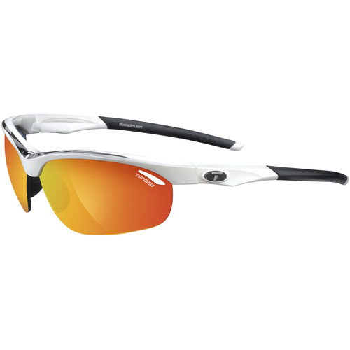 Tifosi Veloce Sunglasses (Black & White Frames - AC Red, Clear, Smoke Red Lenses)