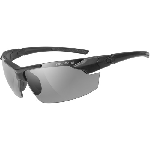 Tifosi Jet FC Tactical Sunglasses (Matte Black ANSI Z87.1 Frame - Smoke, HC Red, Clear Lenses)