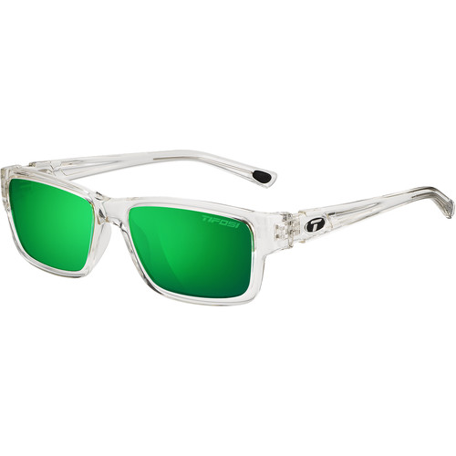 Tifosi Hagen Sunglasses (Crystal Clear Frames, Polarized Clarion Green Lenses)