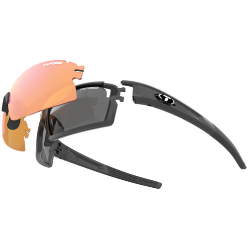 Tifosi Escalate S.F. Sunglasses (Matte Black Frames & AC Red, Clear, Smoke Gray Lenses)