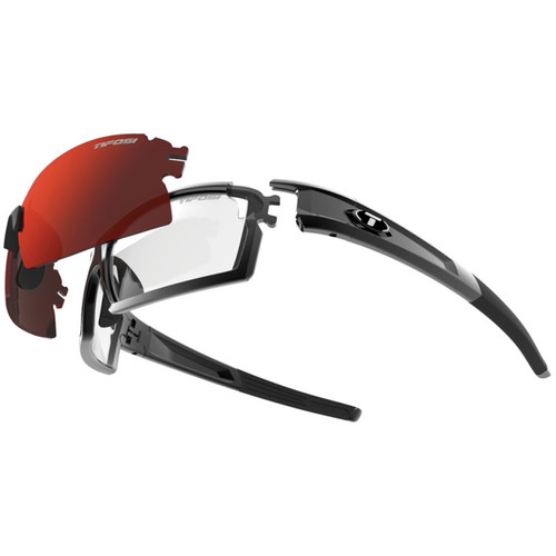 Tifosi Escalate S.F. Sunglasses (Gloss Black Frames & AC Red, Clarion Red, Clear Lenses)