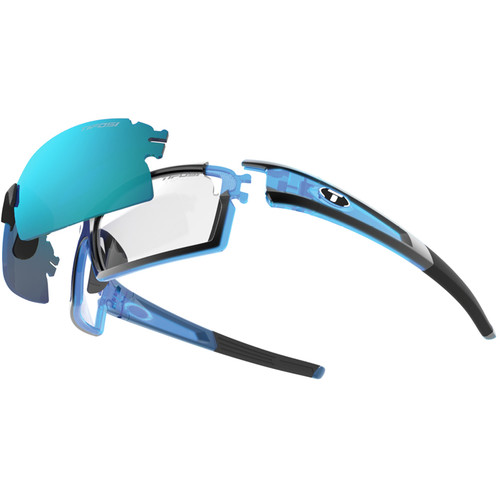 Tifosi Escalate S.F. Sunglasses (Crystal Blue Frames & AC Red, Clarion Blue, Clear Lenses)